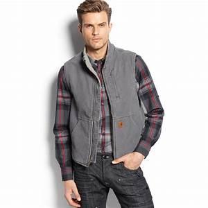 Carhartt Sandstone Mockneck Vest In Gray For Men