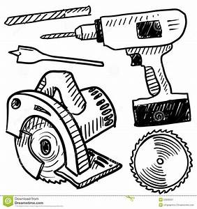 Power tools sketch stock vector Image of carpenter