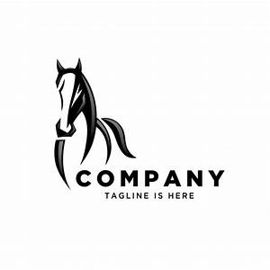 Front view running horse logo Vector | Premium Download