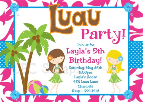luau birthday invitation hawaiian beach by cutiestiedyeboutique