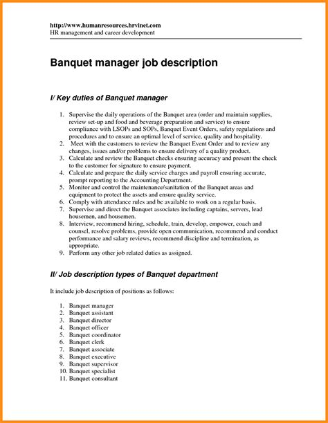 Banquet Waiter Description Resume by 9 Assistant Manager Duties In Restaurant Plan Template