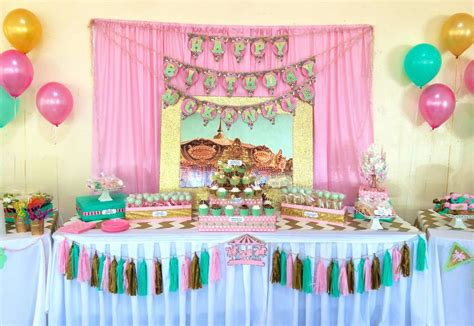 a pink gold carousel 1st birthday party party ideas carousel pink gold and mint green birthday party ideas