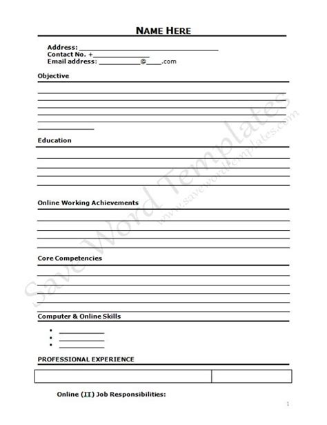 resume cover 40 blank cv template to print sle cv