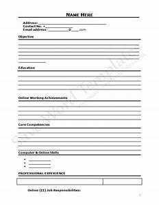 Resume Cover 40 Blank CV Template To Print Cv Form
