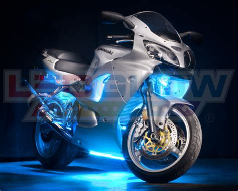 12pc Ice Blue Led Motorcycle Underglow Engine Body Lights