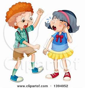 Clipart of a bully boy picking on another kid - Royalty ...