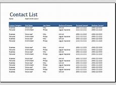 Contact List Template Excel calendar template excel