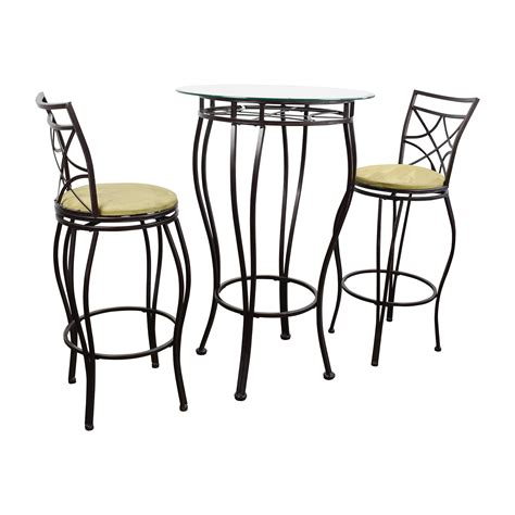 84 iron bistro table and two chairs tables