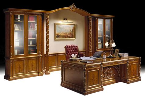 luxury classic office furniture inlaid bookcase and desk