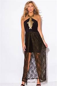 Shop plus size black gold metallic lace high low formal ...