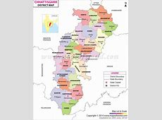 Chhattisgarh Map, Districts in Chhattisgarh