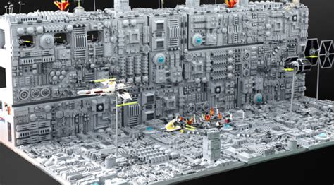 iconic trench run recreated with lego has