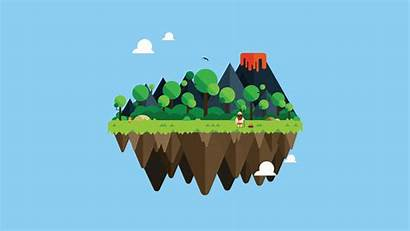 Illustrator Wallpapers Island Floating Adobe Illustration Simple