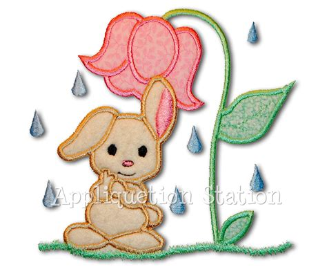 applique embroidery designs baby bunny shower applique machine embroidery design rainy day