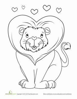 valentines day lion coloring page educationcom