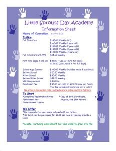 prices sprouts day academy 225 | Tuition Curr. price list1 231x300
