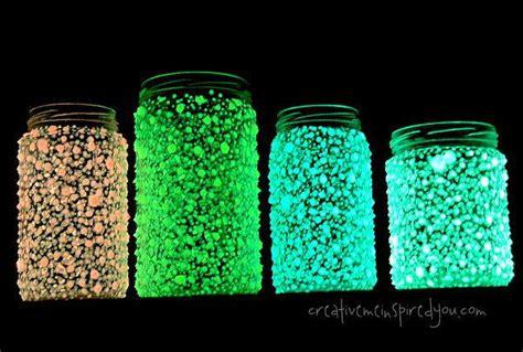 recycled glow   dark galaxy mason jar