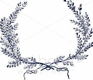 Drawn Vine Leaf Wreath - Pencil And In Color Drawn Vine ...