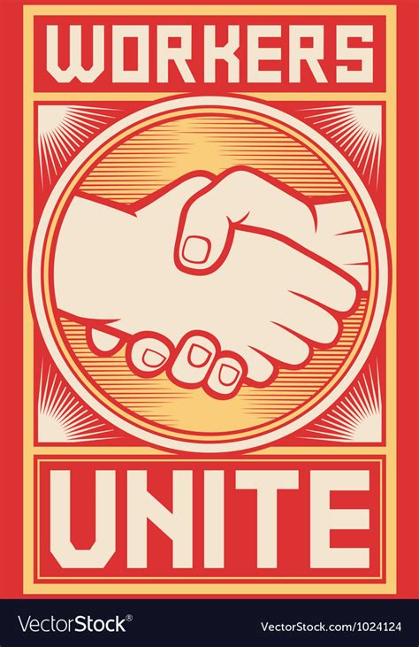 Workers unite poster Royalty Free Vector Image
