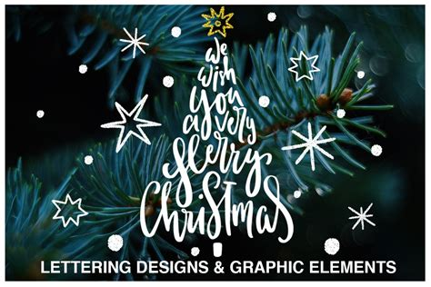 christmas lettering quotes clipart illustrations