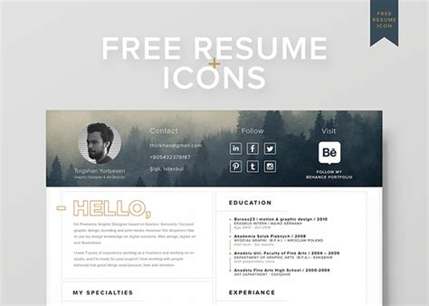 free resume icons free resume template icons self promotion on behance
