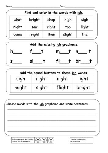 phonics worksheets igh phonics ie igh i e and y powerpoints resources by
