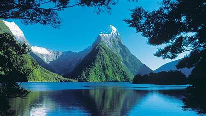 Zealand Milford Sound Mountains Valley Sea Traces