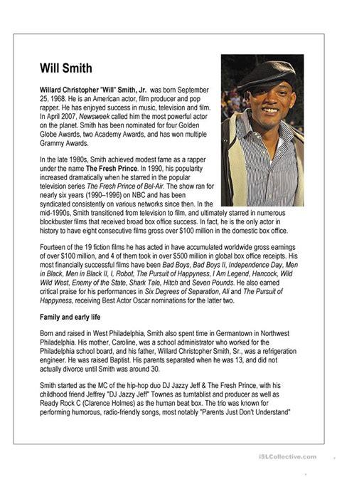 reading comprehension  smith biography worksheet