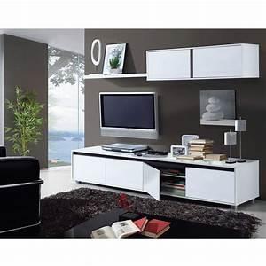 aura ensemble sejour contemporain laque blanc brillant l With meuble salon moderne design 4 etagare design coloris noir caly bibliothaque et etagare