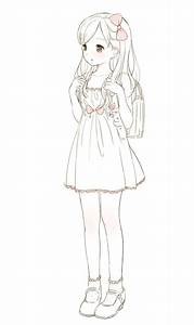 Anime Girl Simple Drawing Whole Body