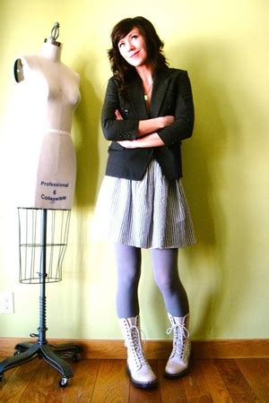 white dr martens boots purple american apparel tights gray american apparels doctor