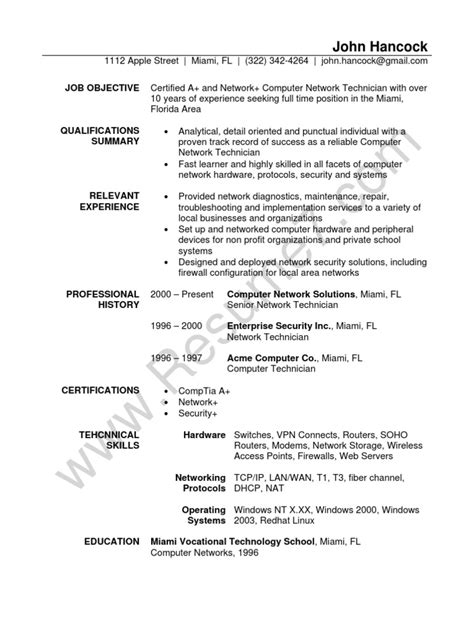 resume for it network technician 28 images cable