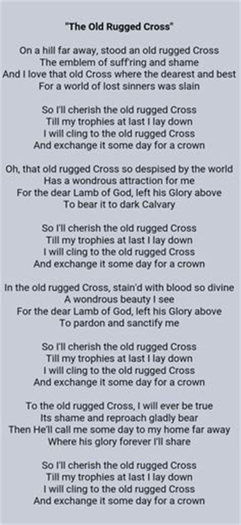 To The Rugged Cross Lyrics by Digital File Rugged Cross Christian Wording With Svg
