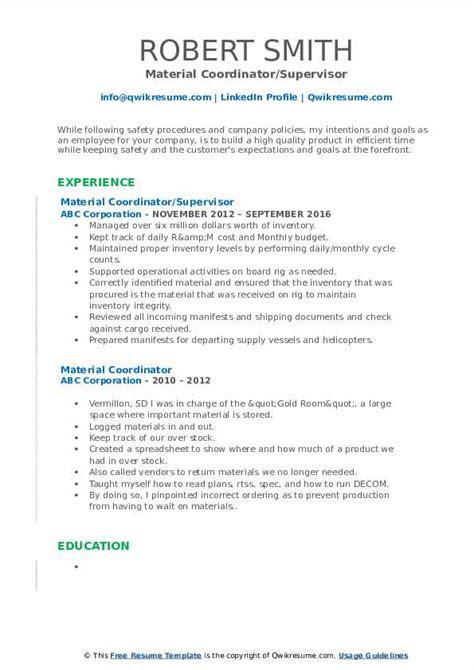 material coordinator resume samples qwikresume