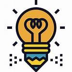 Icon Idea Creative Bulb Pencil Icons Writing