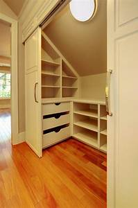Slanted roof closet storage great idea for kids rooms at