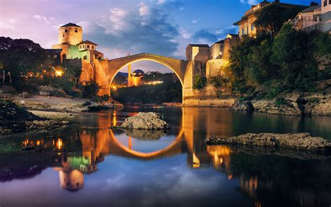 bridge   neretva river  mostar bosnia