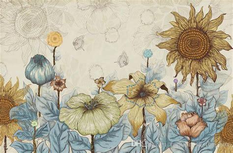 sunflower photo wallpaper vintage wall murals  custom
