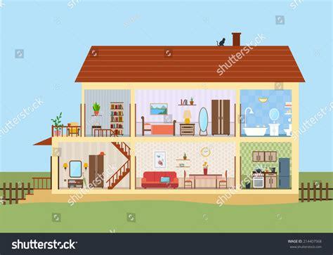 house cut detailed modern house interior stock vector