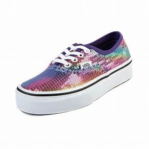 Youth Vans Authentic Rainbow Sequin Skate Shoe