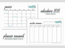 Freebie Calendário 2018 + Planner semanal – Chuva de papel