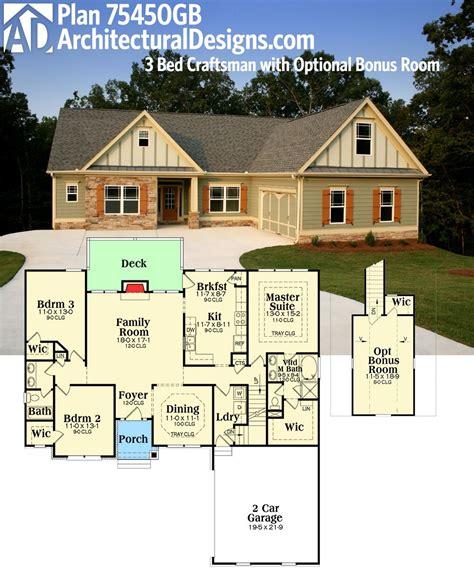 plan gb  bed craftsman  optional bonus room architectural design house plans
