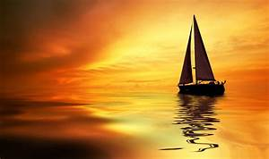 Sea, Ocean, Boat, Yacht, Sky, Clouds, Sunset, Orange, Landscapes, Nature, Earth, Wallpapers, Hd