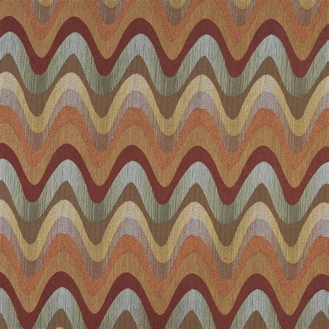 Blue And Orange Upholstery Fabric by Orange Blue Green And Beige Wavy Contemporary Upholstery