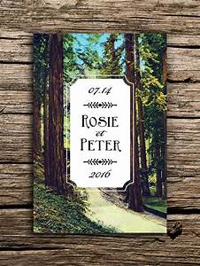 rustic redwoods vintage postcard save the date redwood With redwood tree wedding invitations