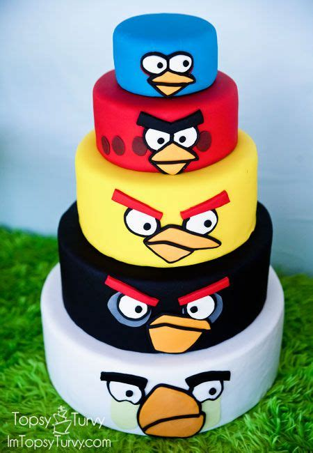 images  cakes angry birds  pinterest