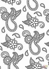 Coloring Paisley Pattern Printable Drawing Paper Fireplace sketch template