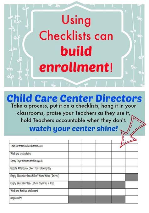 checklists  build enrollment  child care