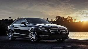 Black Mercedes-Benz CLS63 AMG at sunset wallpaper - Car ...