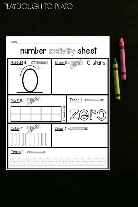 number activity sheets playdough  plato